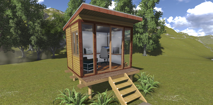Timber garden office kits backyard office diy office for Wooden studios for gardens
